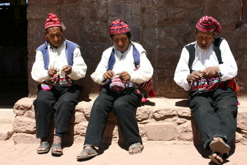 Men knitting on Taquile Island